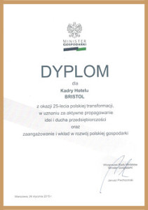 Dyplom dla Hotelu Bristol